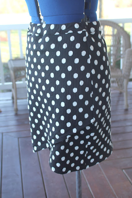 Itch to Stitch Lindy Petal skirt from Joann's polka dot knit
