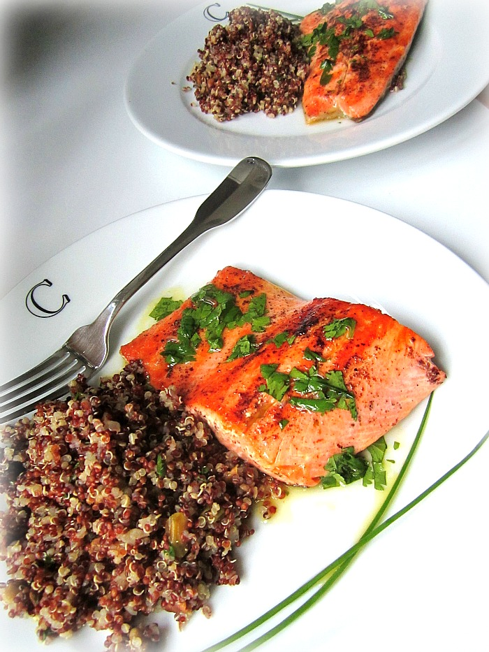 ... cilantro vinaigrette on top serve with the red quinoa with pistachios