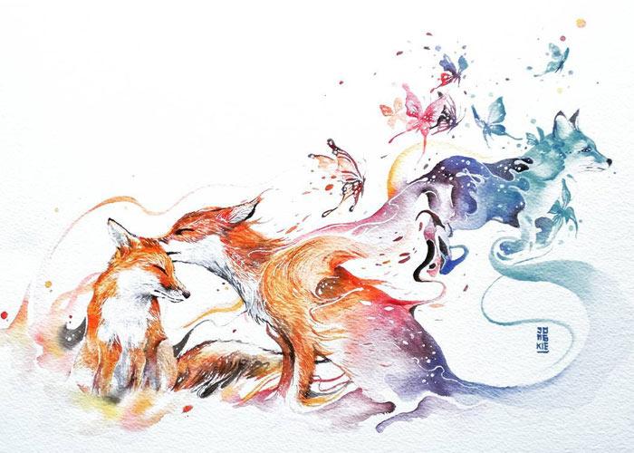 Expresivas pinturas de acuarela de animales por Luqman Reza