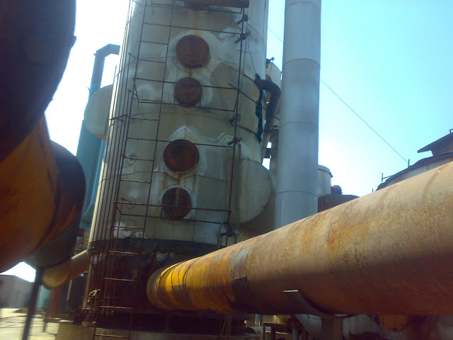 Sulfuric Acid Plant in Pakistan Zimindar Chemical 100 Metic ton daily production by contact process single absorption, between chiniot and faisalabad, near madina sugar mill, image by irfan ahmad plant operator, Convertor/ contact tower image