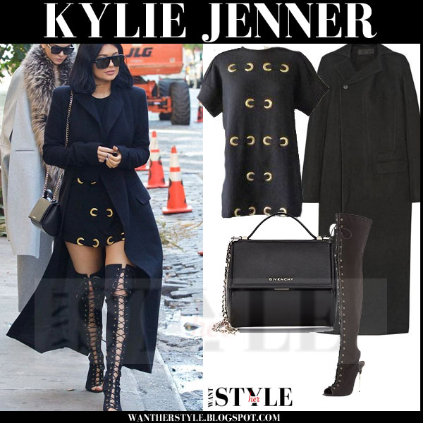 Kylie Jenner in long black haider ackermann coat and lace up over the knee tom ford boots what she wore