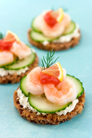 Scrumpdillyicious baby shrimp cucumber canap s with boursin for Shrimp canape ideas