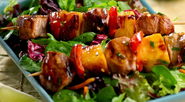 Grilled Vegetable and Pork Kabobs Recipe