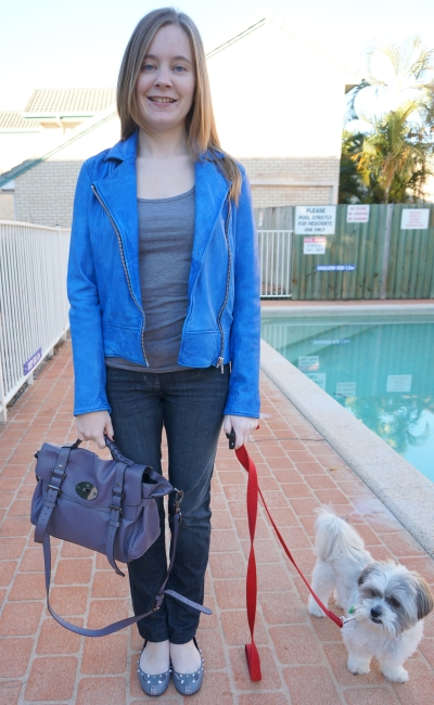 wittner cobalt blue leather jacket skinny jeans studded mbmj mouse flats mulberry alexa bag