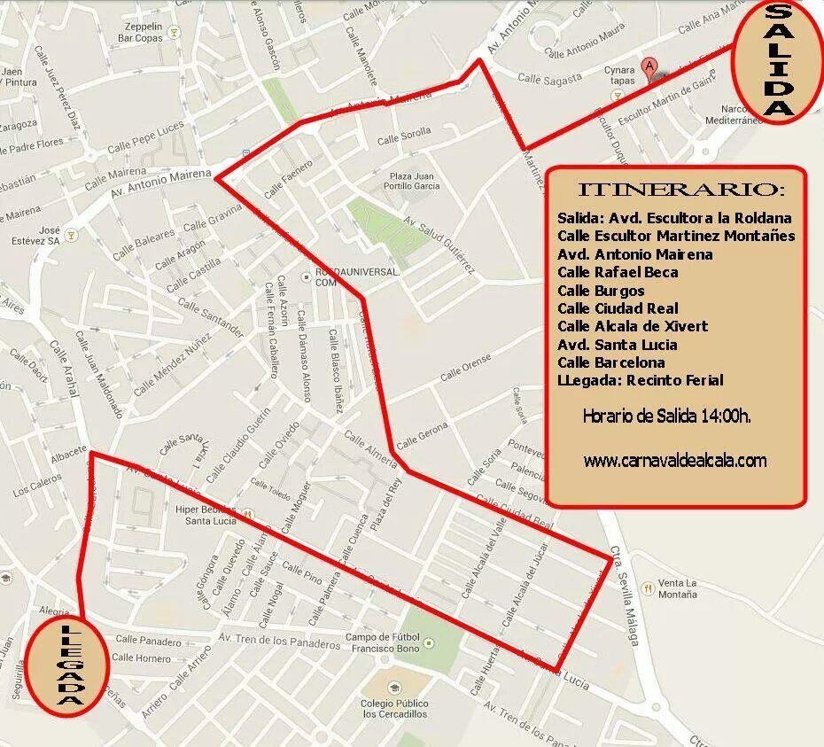 Recorrido Carnaval de Alcalá de Guadaíra