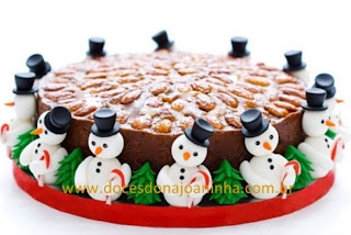 Bolo de frutas tipo inglês - Fruit Cake decorado Natal