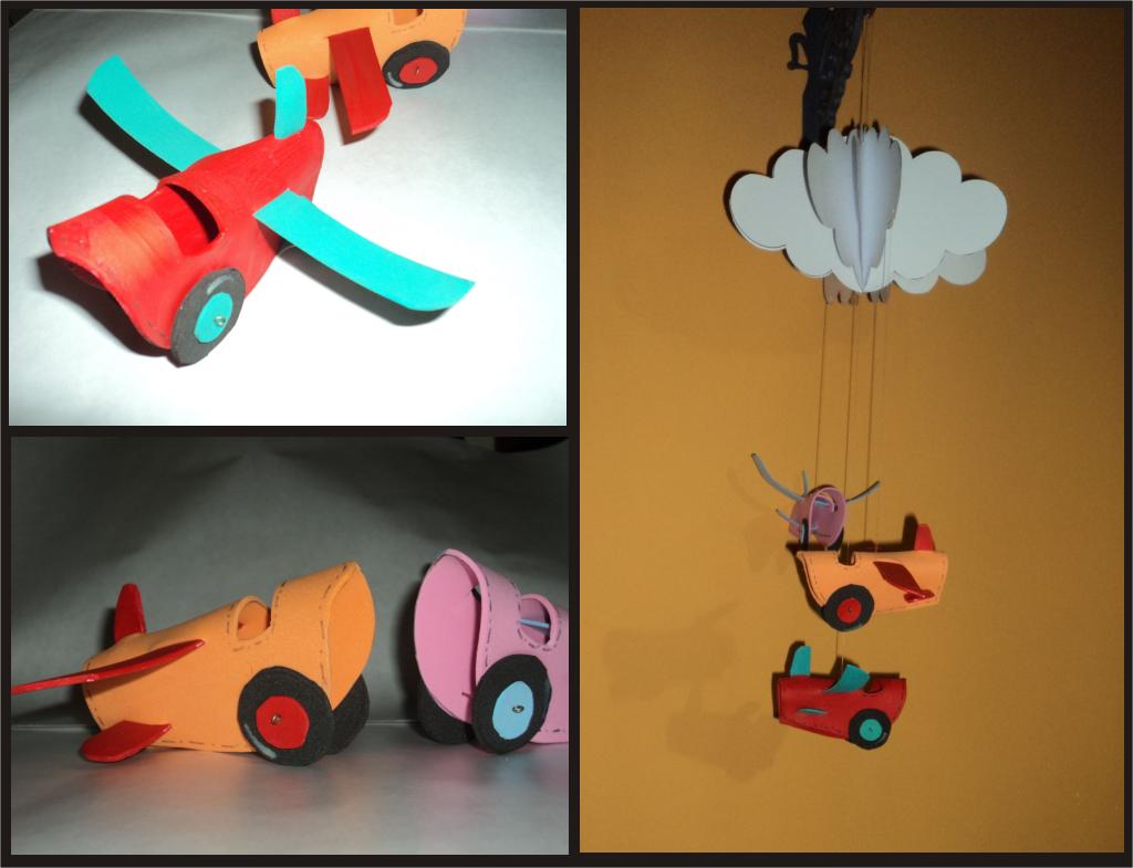 3D, Goma Eva, Cartulina, Nube, Avión, Planeador