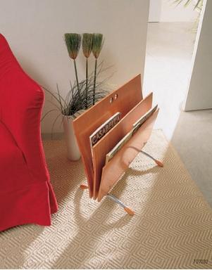 [A cool wooden newspaper holder]