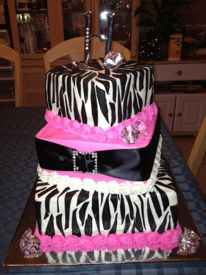 Cakes By Nichole Sweet 16 Blinghot Pinkzebra Cake