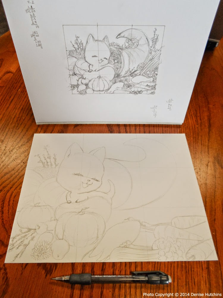 Half-Size Sketch and Full-Size Illustration in Pencil