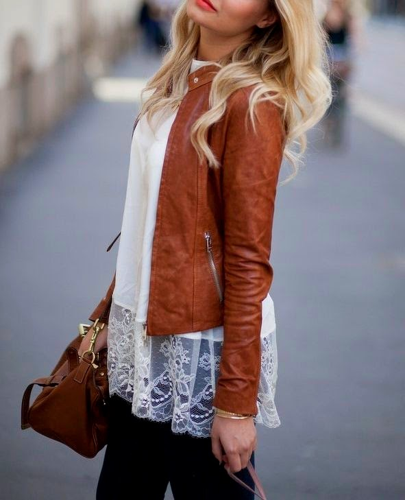 Wearing a Lace Top with Brown Leather Jacket, Bag and Boots for a Romantic Spring Look