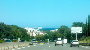 First glimpse of the Mediterranean as we crested the hill..