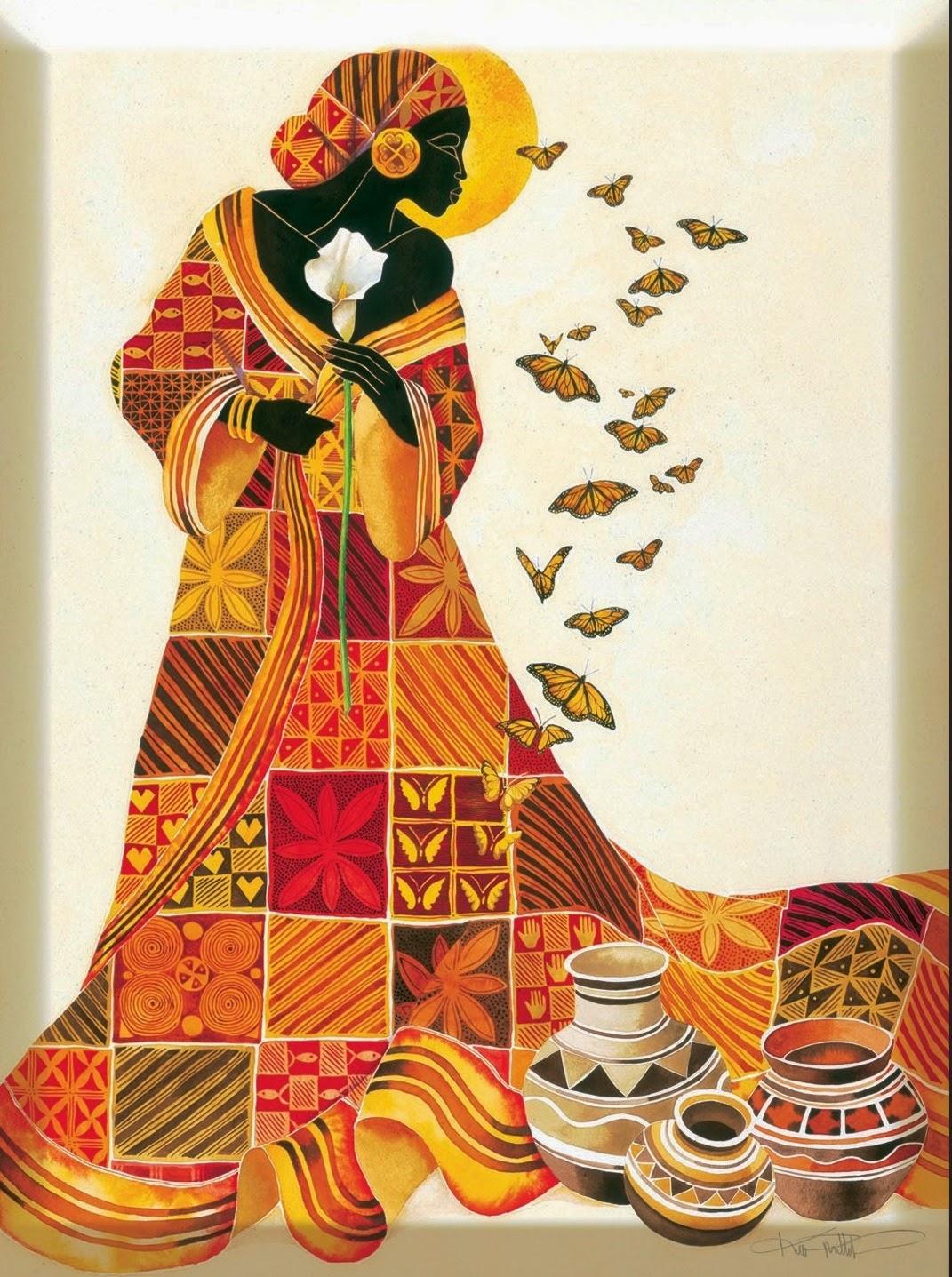 Cuadros modernos pinturas y dibujos cuadros tnicos mujeres africanas - Cuadros de meninas modernos ...