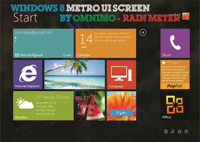 Windows 8 Metro UI using Omnimo & Rain Meter!