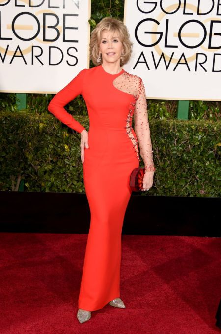 Jane Fonda in a red Versace gown at the Golden Globes 2015