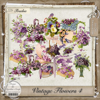 "Free scrapbook ""Vintage Flowers - PU"" from Cajoline scrap"