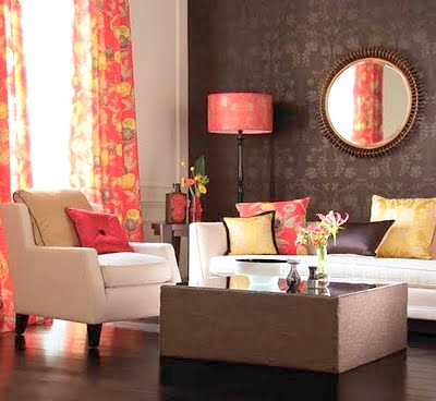 Decore se pink brown for Orange and yellow living room ideas