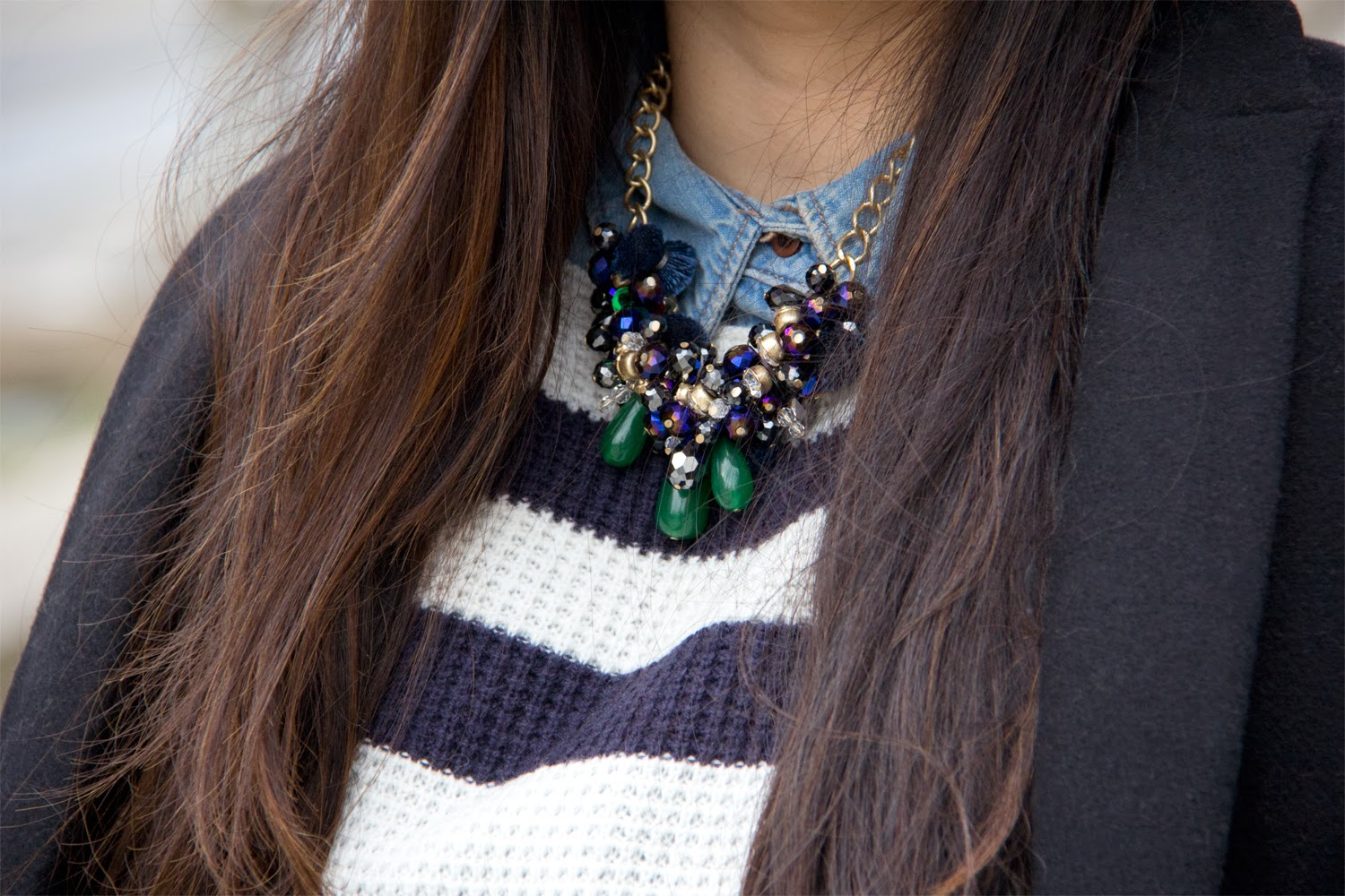 ClubMonaco-Necklace, Statement, Gap-Stripped-Sweater, HM-Denim-Shirt