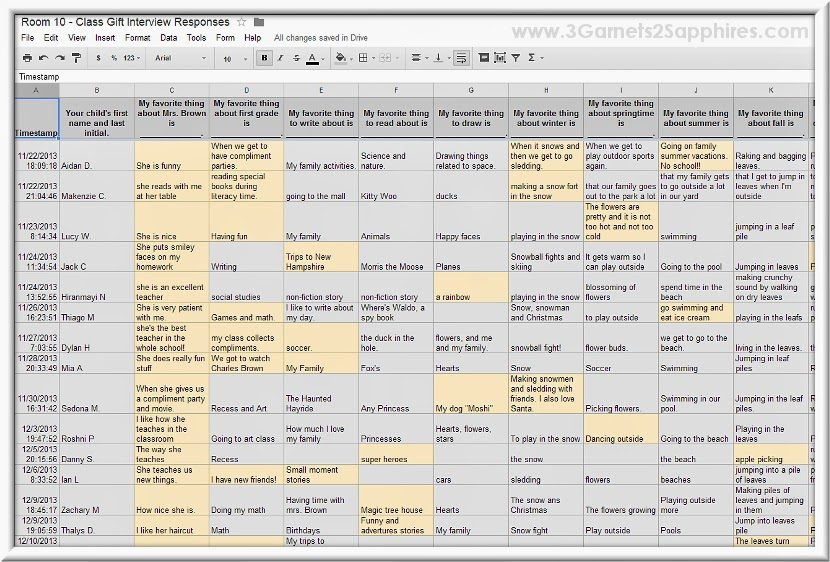 Google Spreadsheet with students' quotes about their favorite things.
