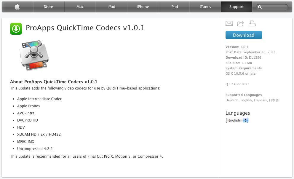 descargar codecs quicktime mac
