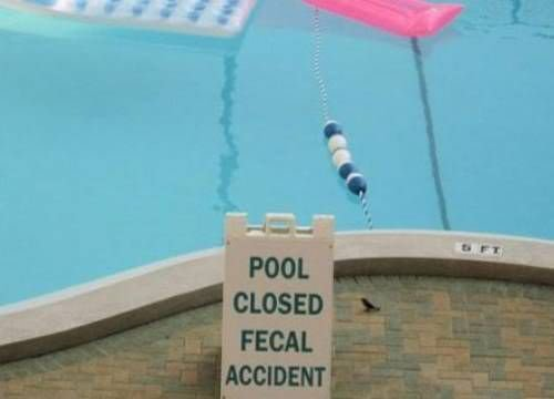 funny pool sign - pool closed fecal accident