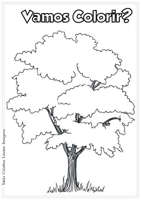 Dia da Árvore desenho pra colorir