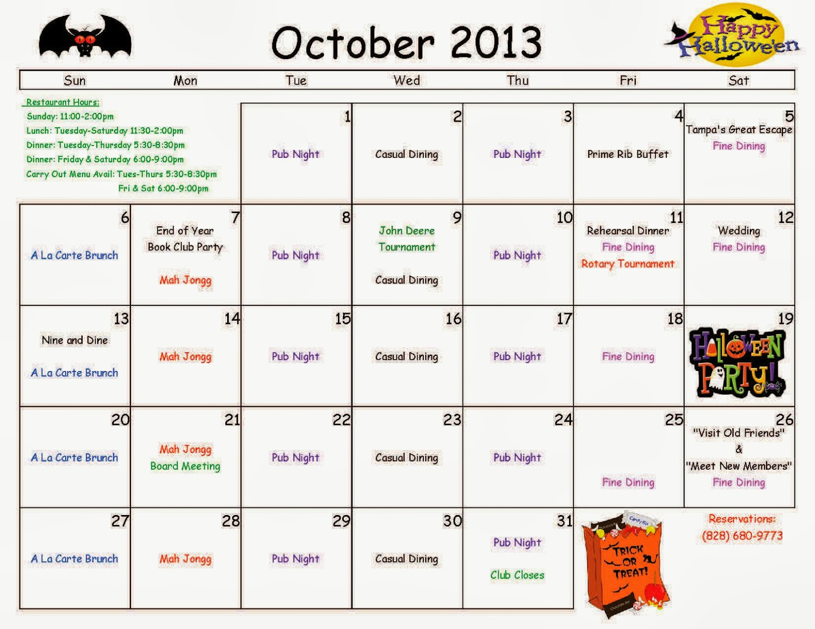 Wolf Laurel Country Club Bulletin Board: Calendar - October 2013