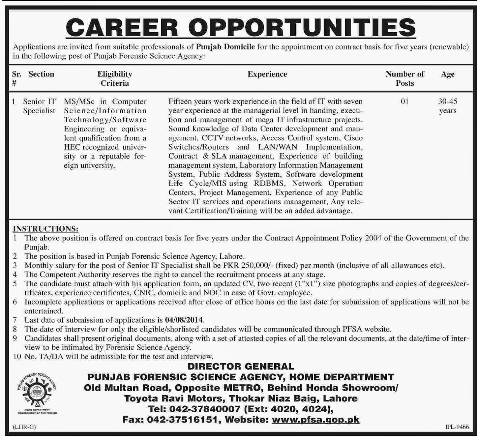 Required Senior IT Specialist in Punjab Forensic Science Agency Home Department, Lahore