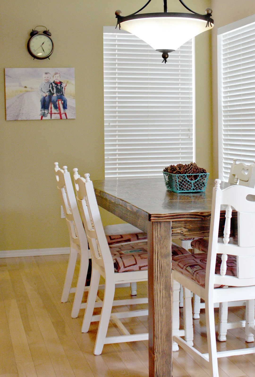Farmhouse dining room table and chairs sew much ado for Dining room farm table
