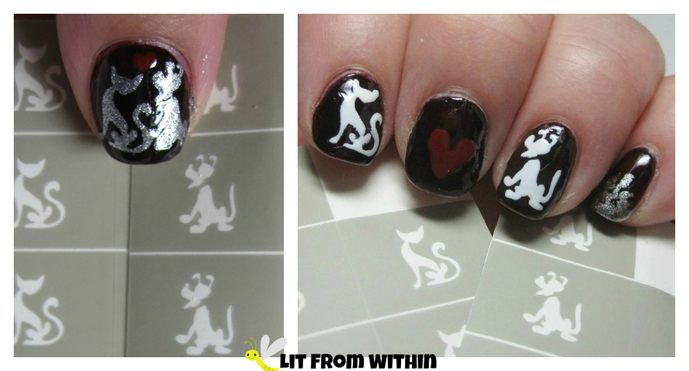 Smart Nails dog and cat stencil nail art