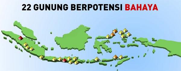 22 Gunung Berpotensi Bahaya di Indonesia