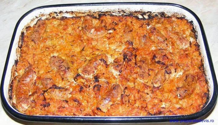 retete si preparate culinare de mancare de varza murata calita cu carnati la cuptor, retete culinare, retete de mancare,