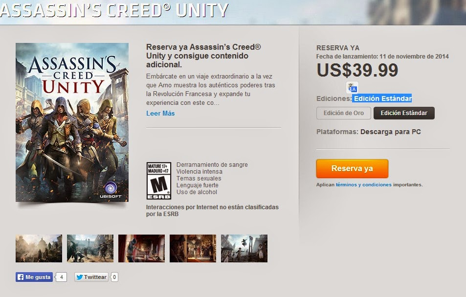 Assassin's Creed Unity standard Edition In Origin Mexician Store