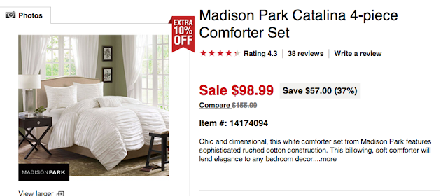 OVERSTOCK MADISON PARK CATALINA COMFORTER SET (QUEEN)