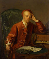 Philip Mercier: Handel composing at a single manual harpsichord, c 1730.