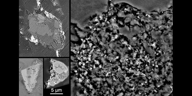 Three larger rocks, each containing several crystals, from comet Wild 2 are shown on the left of this image in cross-section, as imaged by an electron microscope. Fine-grained dust from the comet, still embedded in the aerogel it was captured in, is shown at right. (credit: R. Ogliore, University of Hawaiʻi and Z. Gainsforth, University of California, Berkeley).