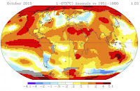 Global temperature departures for October 2015. (Credit: NASA) Click to Enlarge.