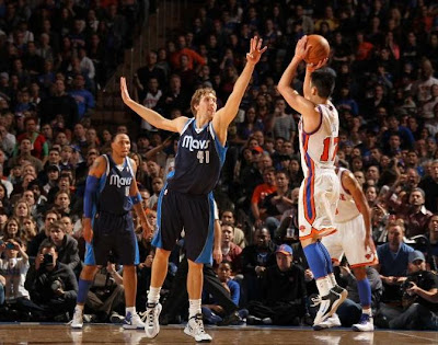 Lin knows when to attempt the 3, like this crucial one he hit over Dirk Nowitzki