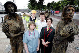 Irish students protest forced immigration at the Famine memorial Dublin