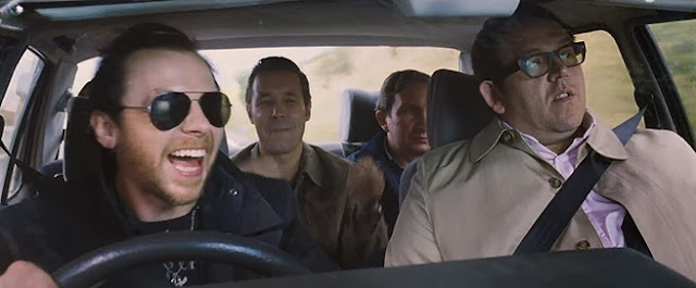 Pegg driving car with Nick Frost in World's End