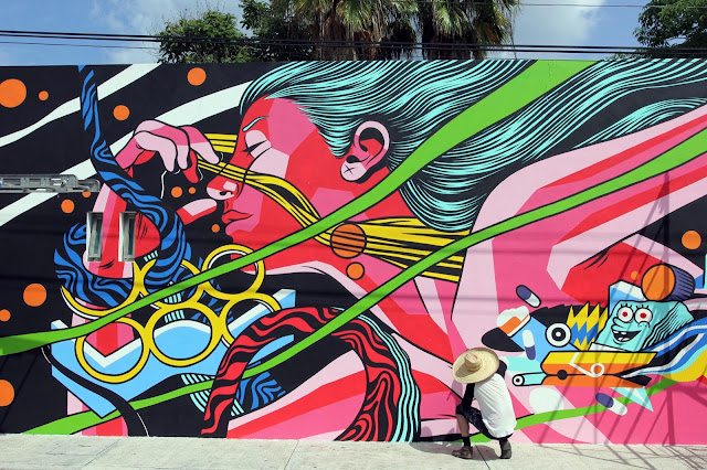 Brought over by JustKids on the streets of Cozumel in Mexico, Bicicleta Sem Freio are currently working on their walls for PangeaSeed and SeaWalls: Murals For Oceans.
