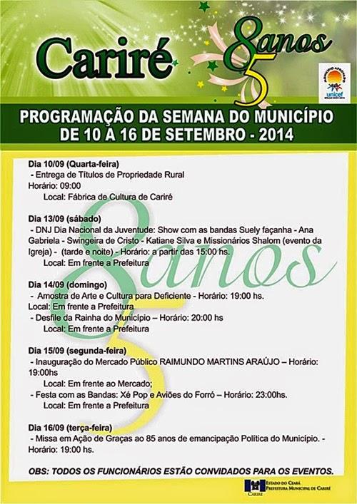 PROGRAMAÇÃO DA SEMANA DO MUNICÍPIO DE 10 A 16 DE SETEMBRO DE 2014