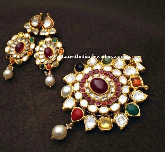Navaratna Polki Diamond Pendant Set