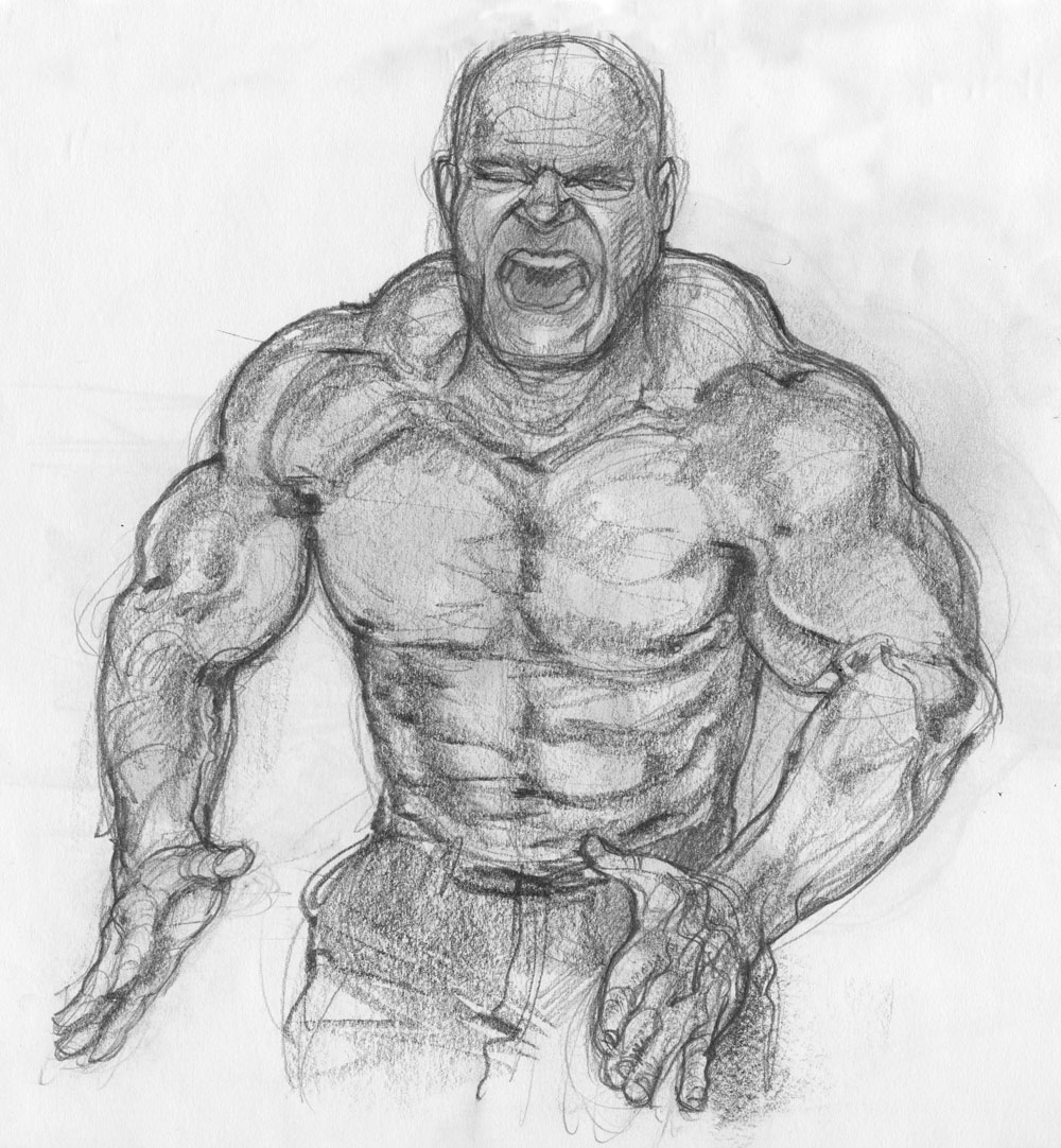 ... big beefy muscle men (not generally a part of my art repertoire.