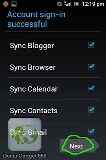 Pilihan sinkronisasi gmail pada Android