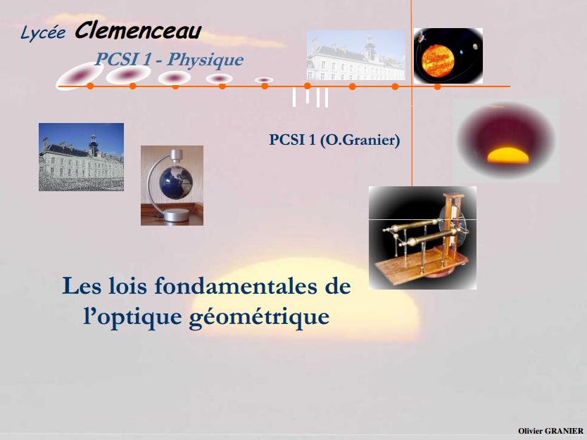 Les lois fondamentales de l'optique géometrique