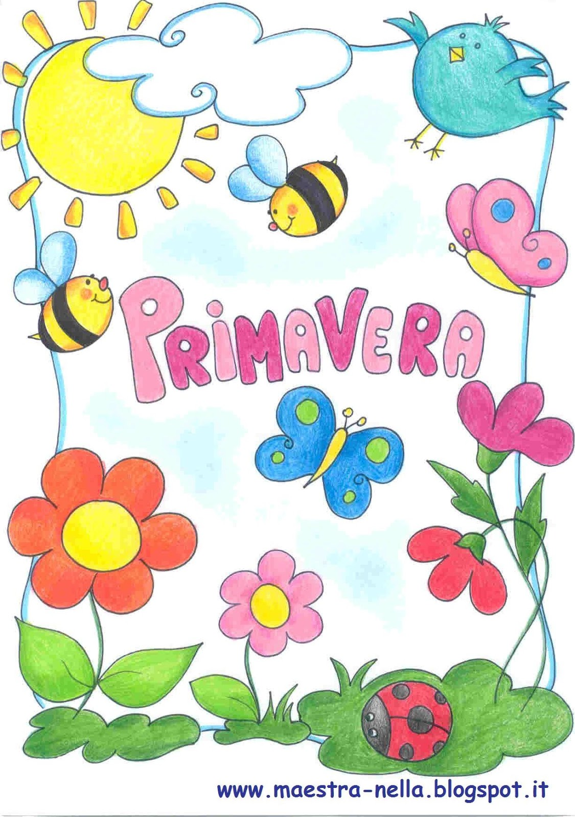 Maestra nella primavera poesia illustrata - Immagini di farfalle a colori ...