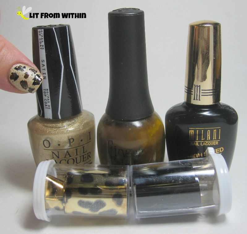 Bottle shot:  OPI Love..Angel..Music..Baby, Finger Paints Sketchy Character, Milani Black Swift, and foils in leopard print and shiny black.