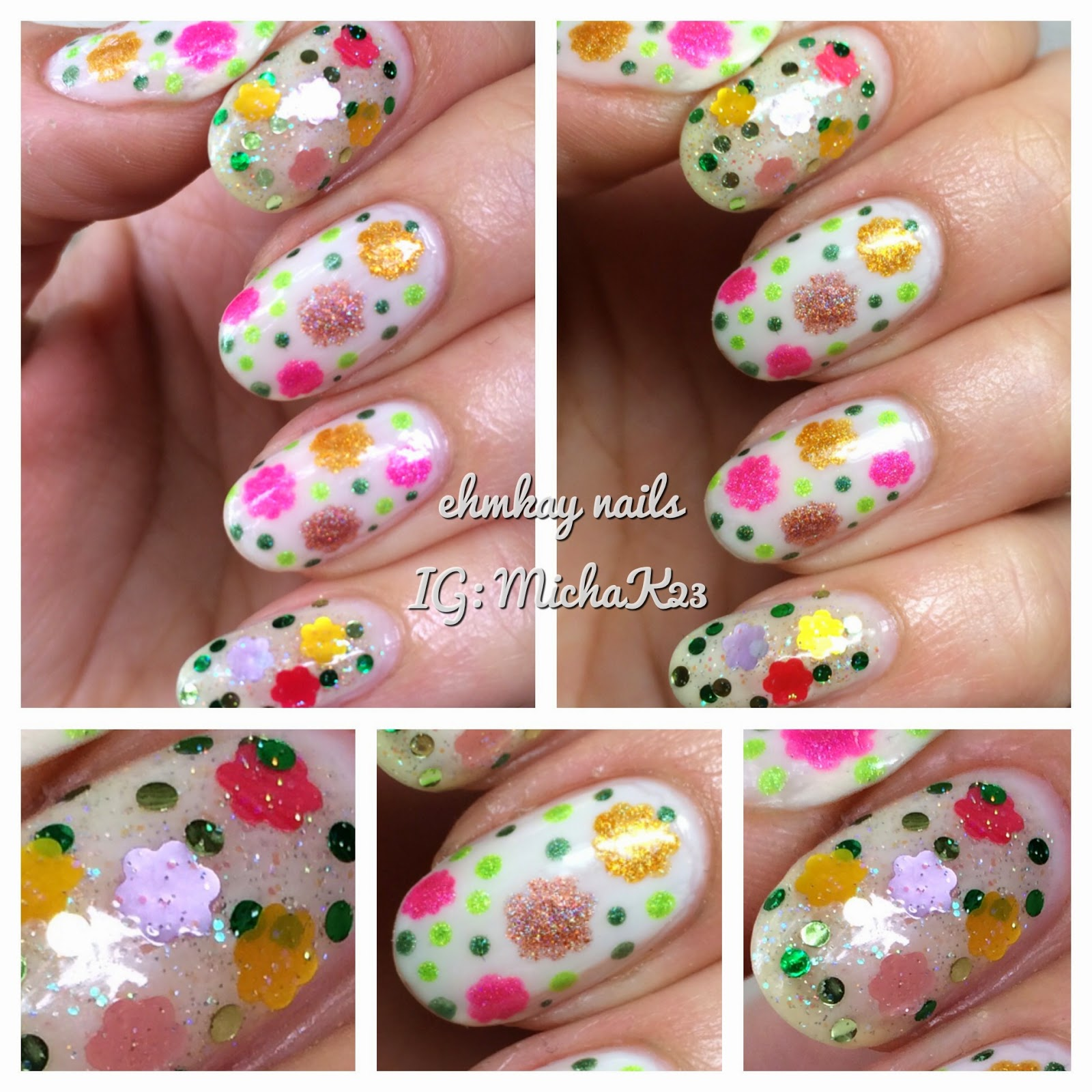 ehmkay nails: Daisy Nail Art with Red Dog Designs Flower Power with ...