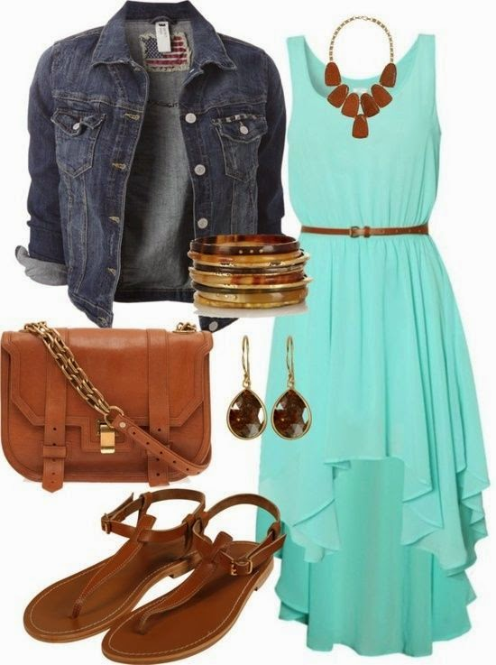 Country Concert Outfit: Turquoise dress with jean jacket and sandals. Could substitute the sandals for your cowboy boots for fall/winter country concert.  See more http://worldcutefashion.blogspot.com/